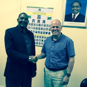 Dep Minster of Health Dr Stephen Kebwe with CEO Mark Topley